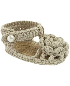 Baby Girl T-Strap Sandal in Natural with Flower Overlay