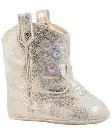 Baby Deer Baby Girl PU Shimmer Western Boot with Flower Embroidery