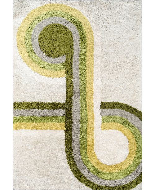 "Novogratz Collection Novogratz Retro Ret-3 Green 3'6"" x 5'6"" Area Rug"
