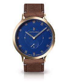 Lilienthal Berlin L1 Standard Blue Dial Gold Case Leather Watch 42mm