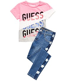 GUESS Big Girls Colorblocked T-Shirt & Star-Wash Jeans