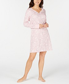 Long Sleeve Printed Cotton Sleepshirt Nightgown, Created for Macy's