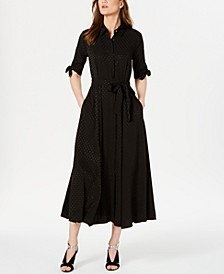 Tonal Dot Maxi Shirtdress