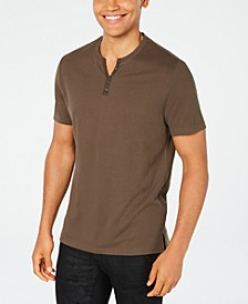 INC Men's Textured Split-Neck T-Shirt, Created for Macy's