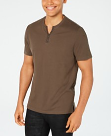 I.N.C. Men's Textured Split-Neck T-Shirt, Created for Macy's