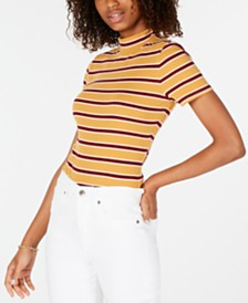 Hippie Rose Juniors' Rib-Knit Mock Turtleneck Top