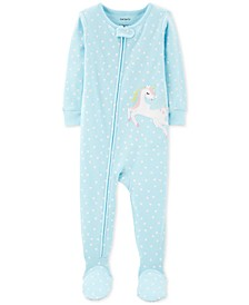 Baby Girls 1-Pc. Cotton Heart-Print Unicorn Pajama