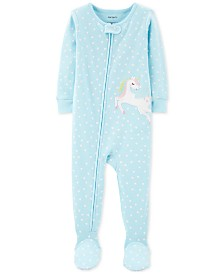 Carter's Baby Girls 1-Pc. Cotton Heart-Print Unicorn Pajama