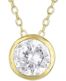 """Giani Bernini Sterling Silver Cubic Zirconia Bezel 18"""" Pendant Necklace, Created for Macy's"""