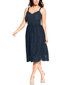 City Chic Trendy Plus Size Eyelet A-Line Dress
