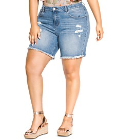 City Chic Trendy Plus Size Distressed Jean Shorts