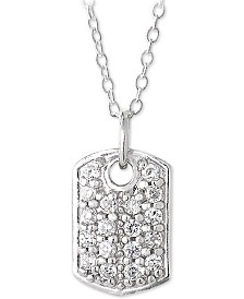 "Giani Bernini Sterling Silver Cubic Zirconia Dog Tag Pendant Necklace, 18"" + 2"" Extender, Created for Macy's"