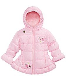 Baby Girls Hooded Embroidered Puffer Jacket