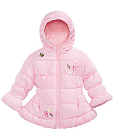 S Rothschild & CO Baby Girls Hooded Embroidered Puffer Jacket