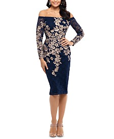 XSCAPE Petite Embroidered Lace Off-The-Shoulder Dress