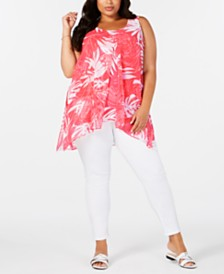 Alfani Plus Size Chiffon Split-Front Top, Created for Macy's