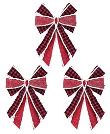 Napco Large Red Plaid Bow - Set of 3