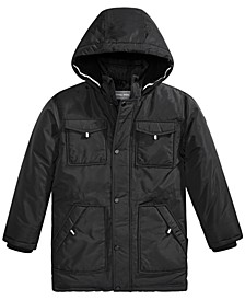 Big Boys Faux-Fur-Trim Hooded Snorkel Jacket