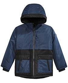 Big Boys Faux-Fur-Trim Colorblocked Hooded Snorkel Jacket