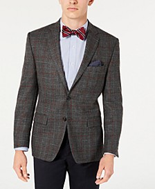 Men's Classic-Fit UltraFlex Stretch Gray/Brick Windowpane Sport Coat