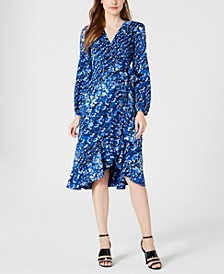Printed Long-Sleeve Midi Dress