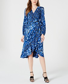 Calvin Klein Printed Long-Sleeve Midi Dress