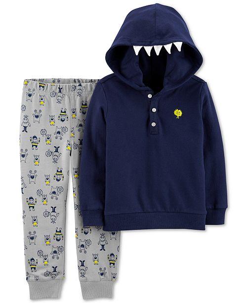 Carter's Toddler Boys 2-Pc. Cotton Monster Hoodie & Printed Jogger Pants Set