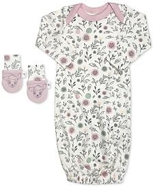 finn + emma Baby Girls 2-Pc. Organic Cotton Bambi Gown & Mitts Set