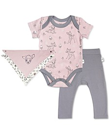Baby Girls 3-Pc. Cotton Bambi Bib, Bodysuit & Pants Set