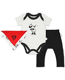 Baby Girls 3-Pc. Organic Cotton Minnie Mouse Bodysuit, Bib & Pants Set