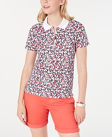 Tommy Hilfiger Floral-Print Zipper-Neck Top, Created for Macy's