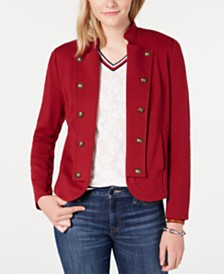 Tommy Hilfiger Button-Trim Open-Front Jacket, Created for Macy's