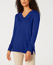 Karen Scott V-Neck Solid Sweater, Created for Macy's
