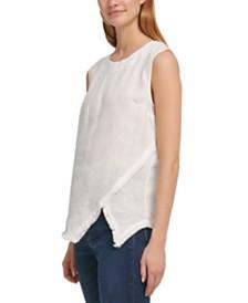 DKNY Linen Raw-Trim Asymmetrical Top