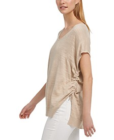 Ruched Metallic Sweater