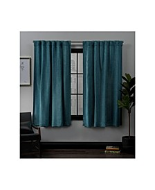 "Lancaster Basket Weave Woven Blackout Hidden Tab Top 52"" X 63"" Curtain Panel Pair"