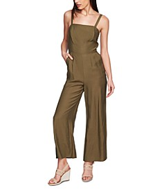 Sleeveless Square-Neck Wide-Leg Jumpsuit