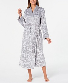 Women's Printed Plush Long Robe, Created for Macy's