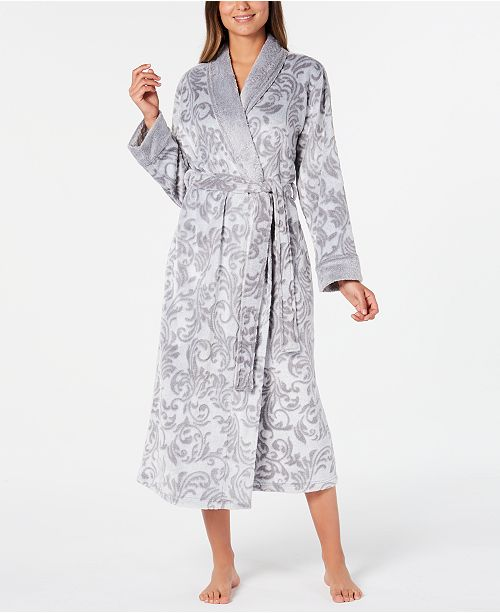 Charter Club Women's Printed Plush Long Robe, Created for Macy's