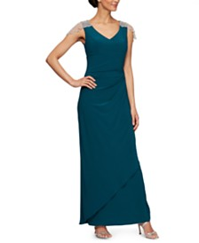 Alex Evenings V-Neck Embellished-Strap Gown