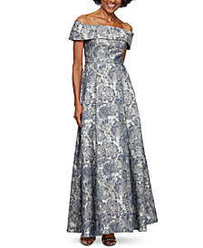 Alex Evenings Printed Off-The-Shoulder Gown