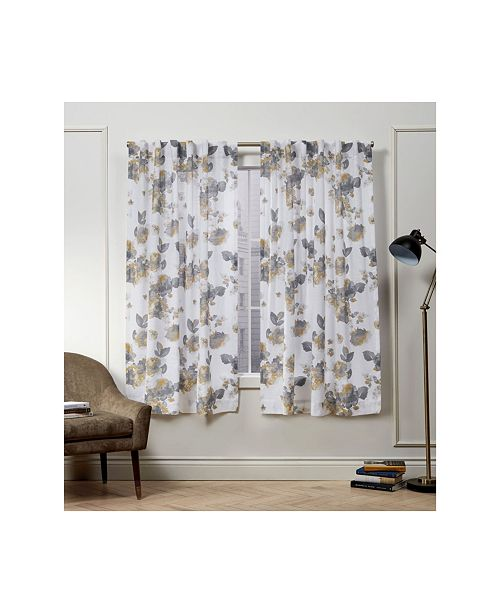 "Exclusive Home Nicole Miller Kristy Floral Cotton Hidden Tab Top 50"" X 63"" Curtain Panel Pair"
