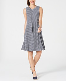 Style & Co Striped Swing Dress, Created for Macy's
