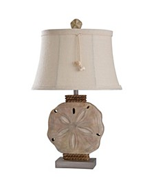 Vipitenow with Silver 31in Cast Sand Dollar Coastal Table Lamp with Shade Pendant 100 Watts 3-Way