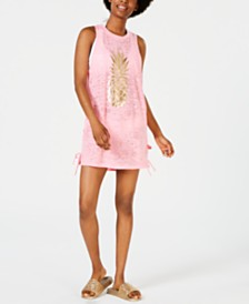 Miken Juniors' Pineapple Lace-Up Cover-Up, Created for Macy's