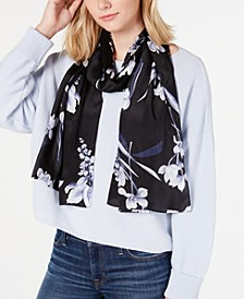 Floral Painting Silk Oblong Scarf