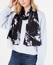 Echo Floral Painting Silk Oblong Scarf