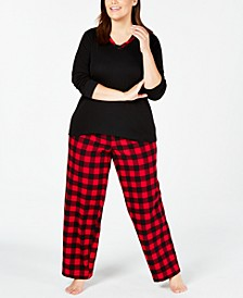 Plus Size Plaid Mix It Pajama Set, Created for Macy's