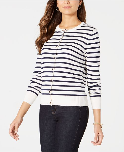 Charter Club Petite Striped Toggle-Closure Cardigan, Created for Macy's