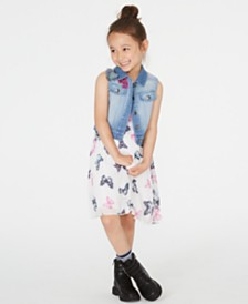Rare Editions Little Girls 2-Pc. Butterfly-Print Shift Dress & Denim Vest Set